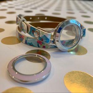 Origami Owl floral print leather wrap bracelet